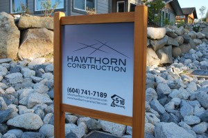 Hawthorn Construction House Sign