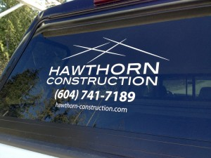 Hawthorn Construction Truck Window Sign