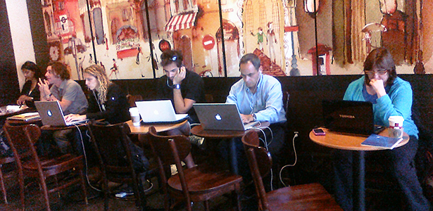 People working in a coffee shop